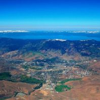 Aerial view of Carson City and its famous neighbor, Lake Tahoe.