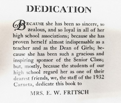 Fritsch dedication
